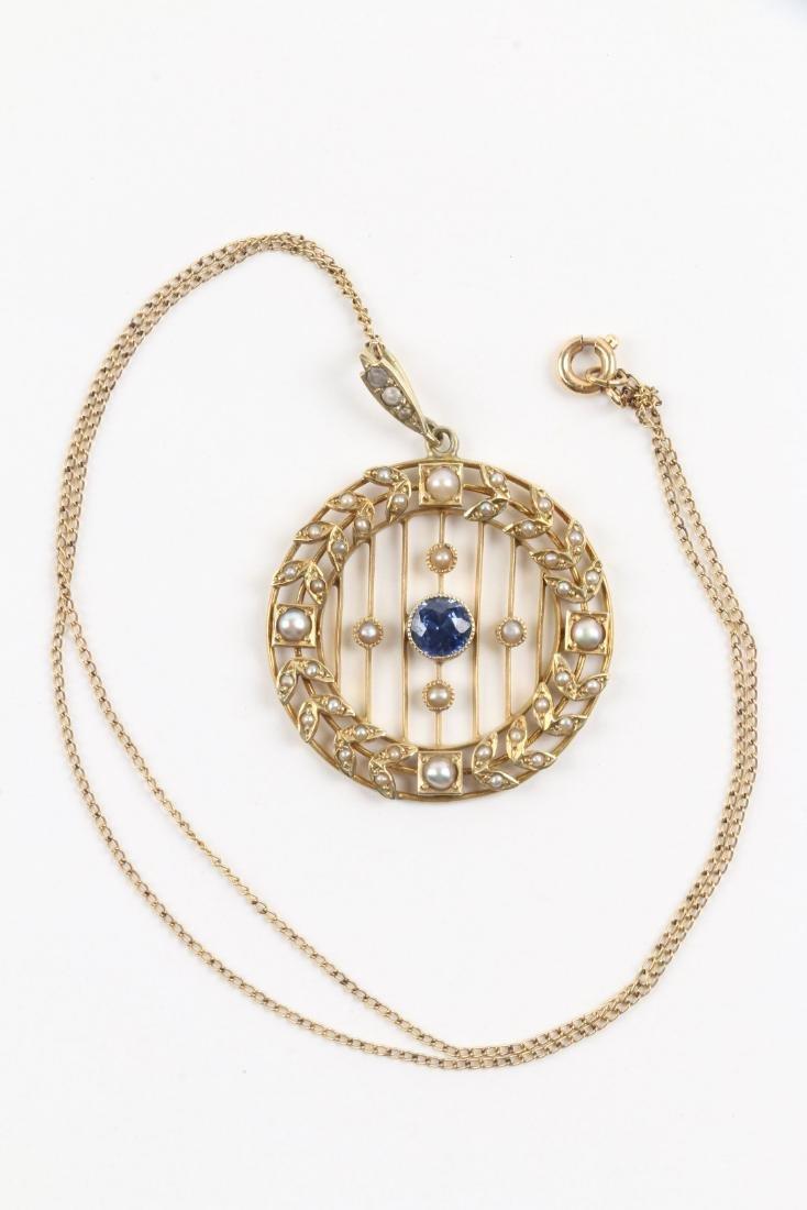 A Victorian 14K, Pearl & Sapphire Necklace, Pendant - 2