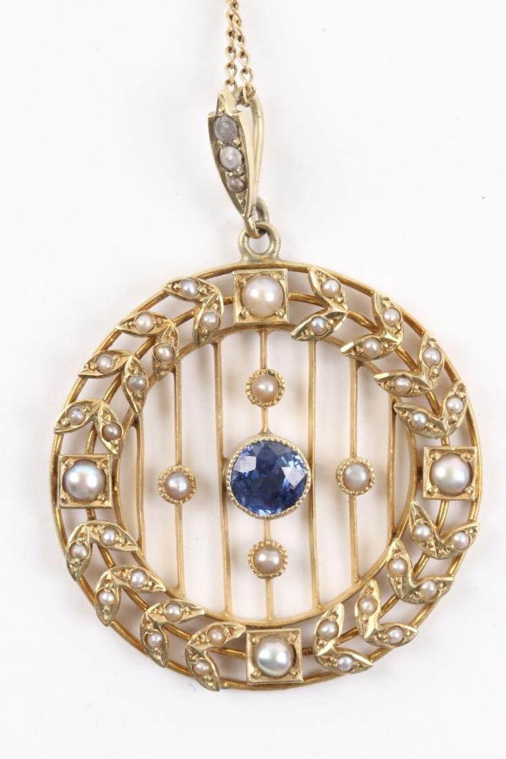 A Victorian 14K, Pearl & Sapphire Necklace, Pendant - 3