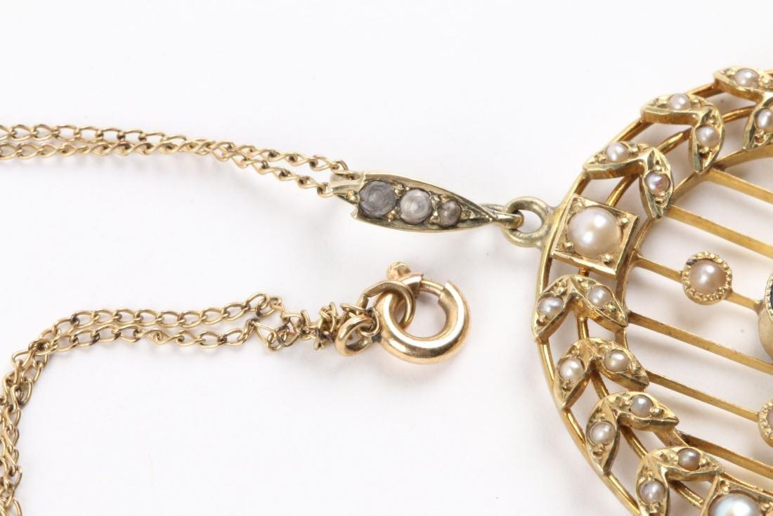 A Victorian 14K, Pearl & Sapphire Necklace, Pendant - 4