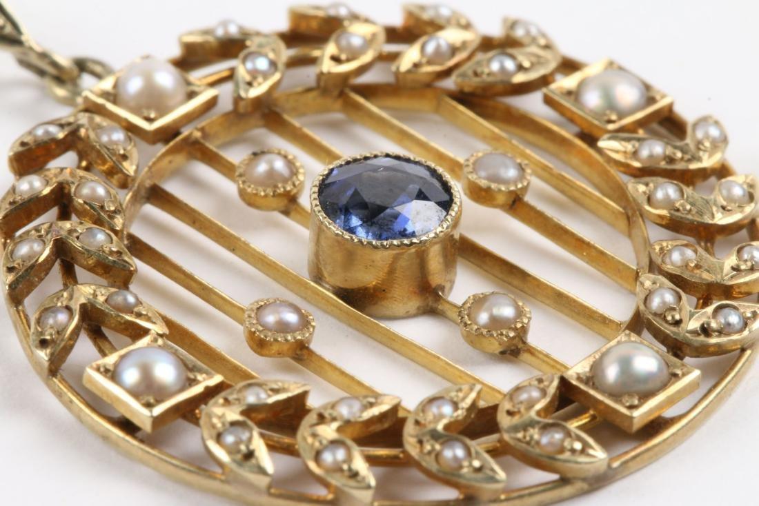 A Victorian 14K, Pearl & Sapphire Necklace, Pendant - 5