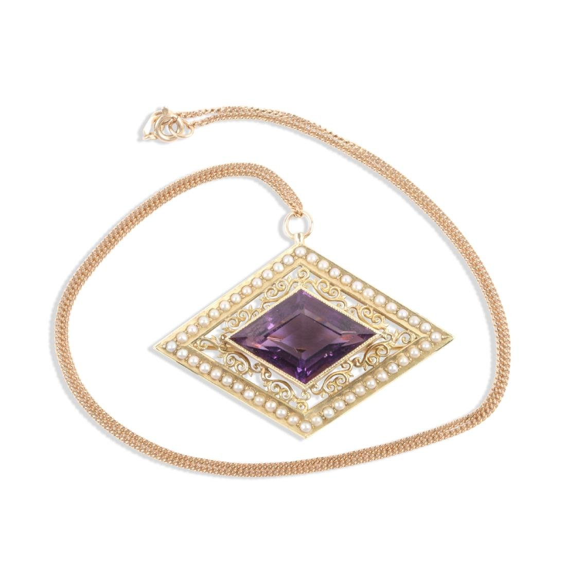 A Victorian 14K, Amethyst & Seed Pearl Necklace