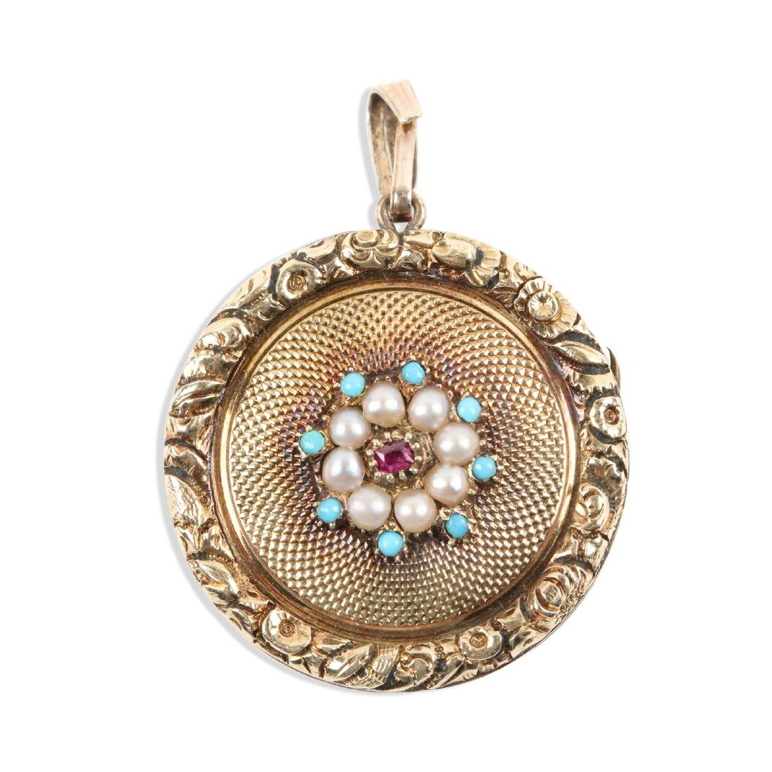 A Georgian 18K Gold, Pearl, Ruby & Turquoise