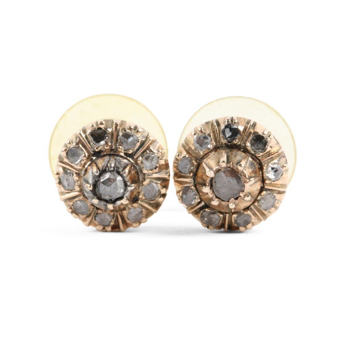 A Pair, 14K Rose Gold & Diamond Earrings