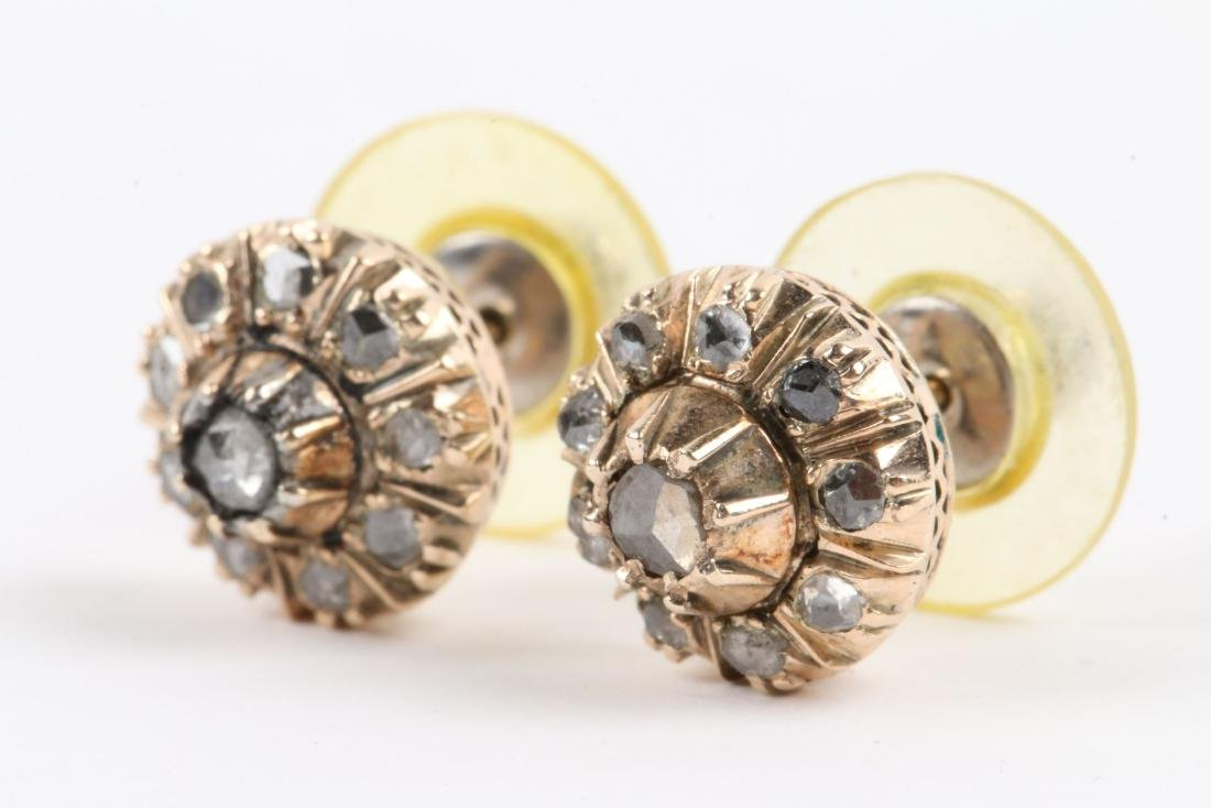 A Pair, 14K Rose Gold & Diamond Earrings - 2