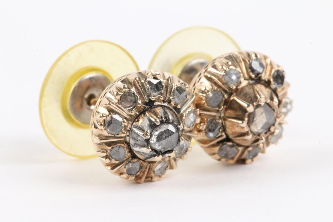 A Pair, 14K Rose Gold & Diamond Earrings - 3