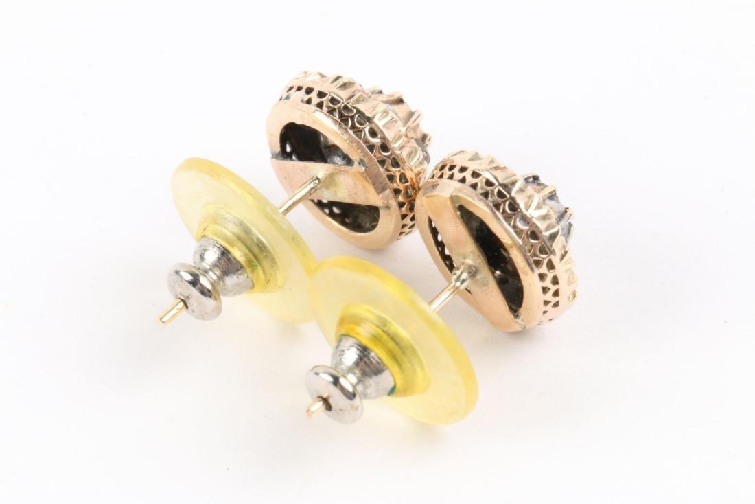 A Pair, 14K Rose Gold & Diamond Earrings - 4