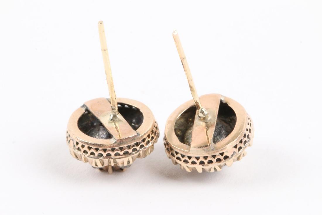 A Pair, 14K Rose Gold & Diamond Earrings - 5