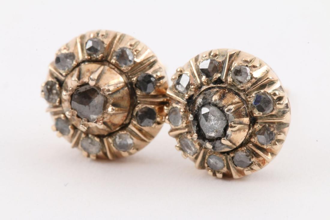 A Pair, 14K Rose Gold & Diamond Earrings - 6