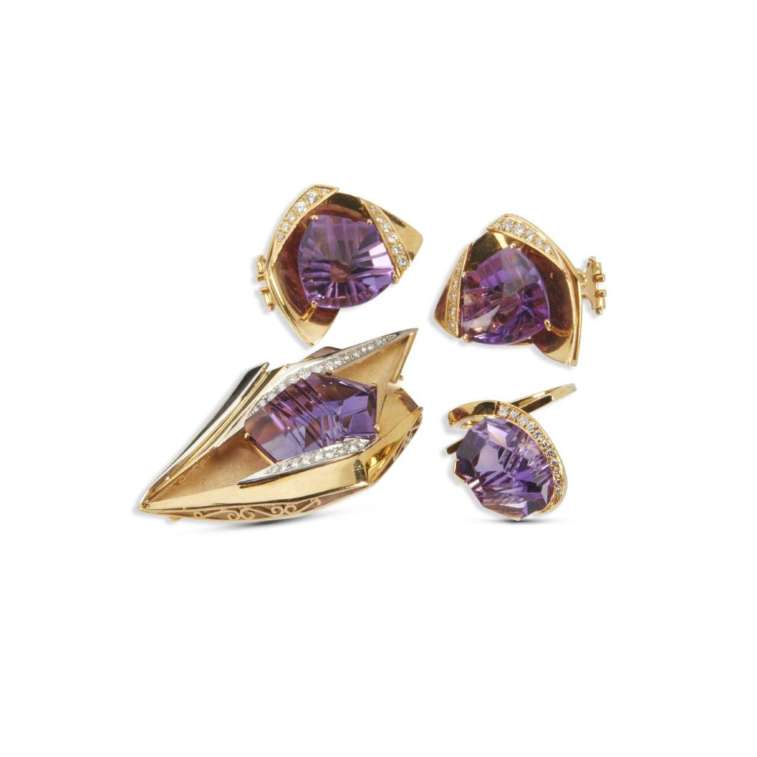 An 18K, Amethyst & Diamond Earrings, Brooch, Ring Set