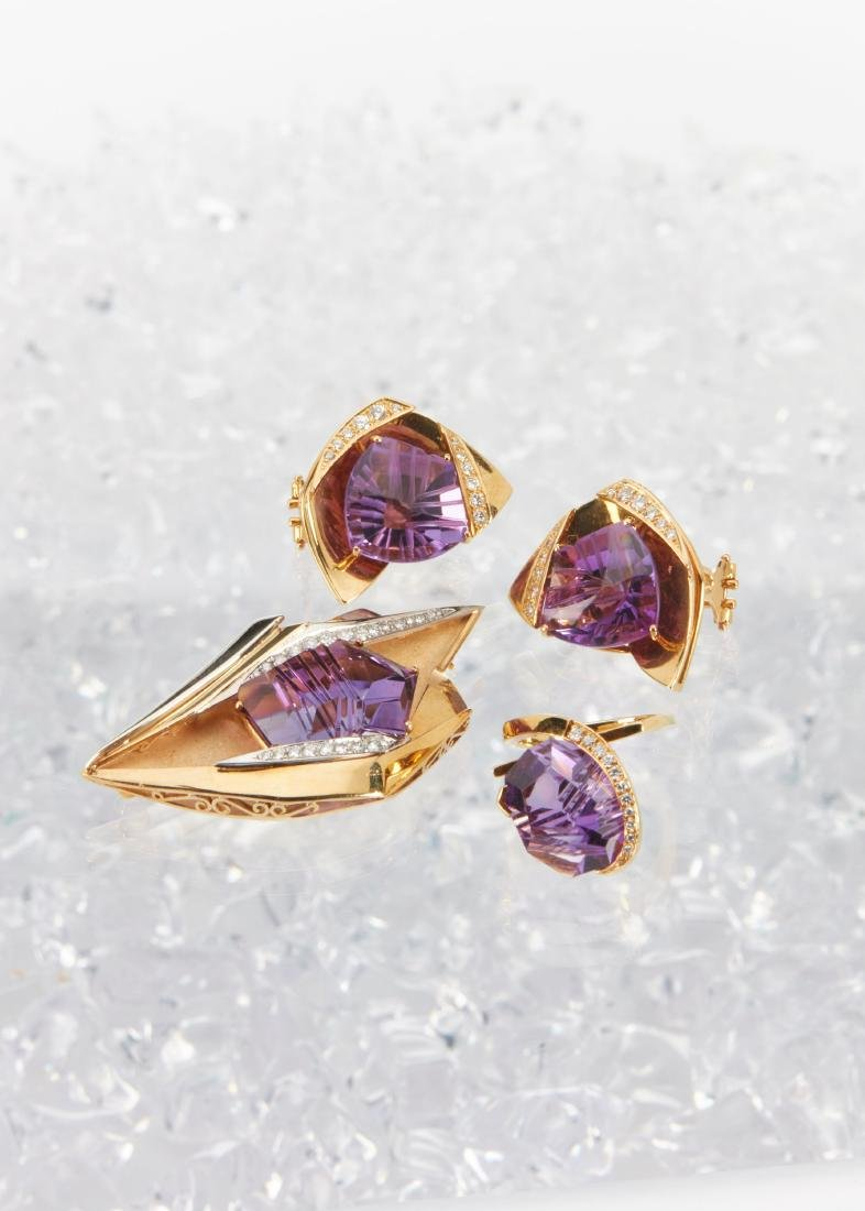 An 18K, Amethyst & Diamond Earrings, Brooch, Ring Set - 2