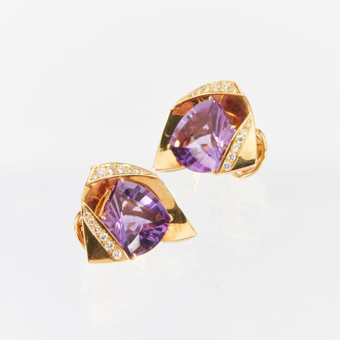 An 18K, Amethyst & Diamond Earrings, Brooch, Ring Set - 9
