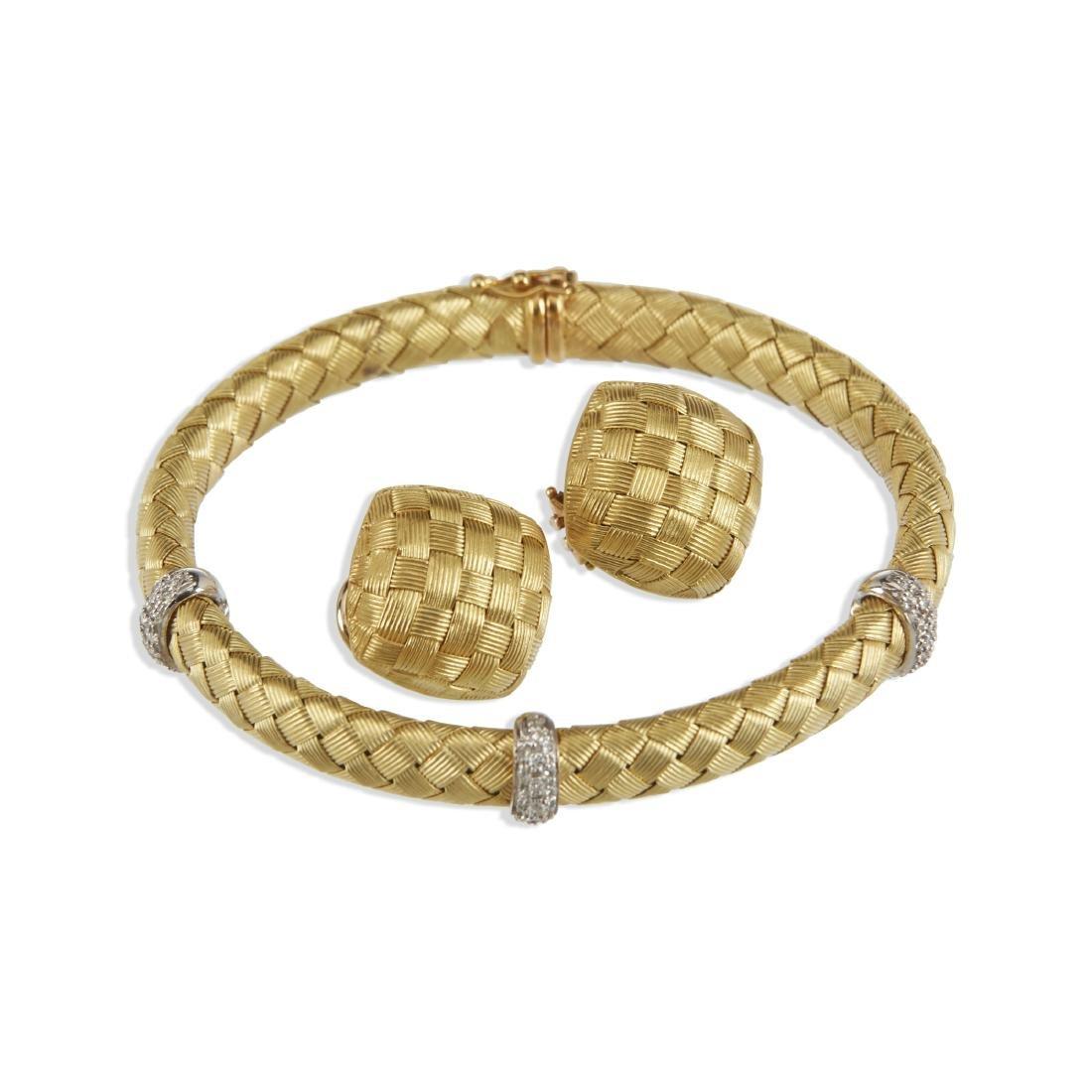 A Roberto Coin 18K Woven Bracelet & Earrings Set