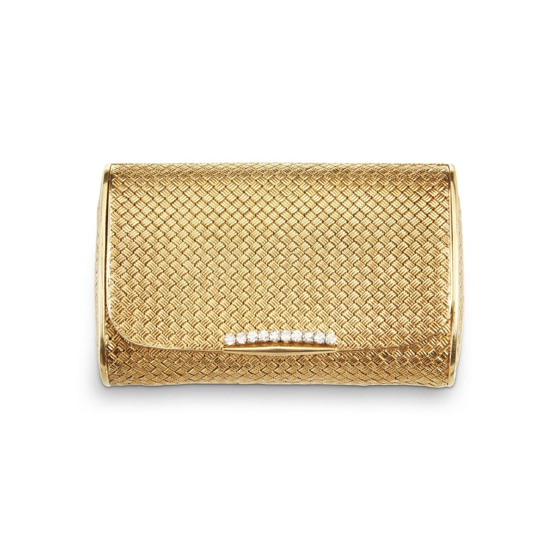 An Italian 18K Gold & Diamond Clutch