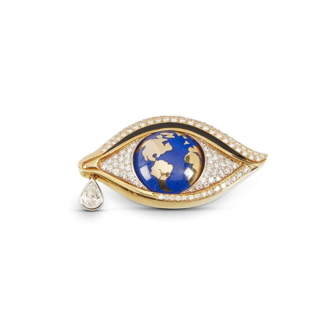 """Mia Brattan, 18K, Diamond, Onyx, Lapis Lazuli """"Eye"""""""
