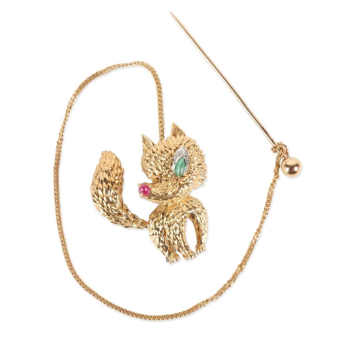 "Cartier, 18K, Ruby, Diamond & Emerald ""Fox"" Brooch"