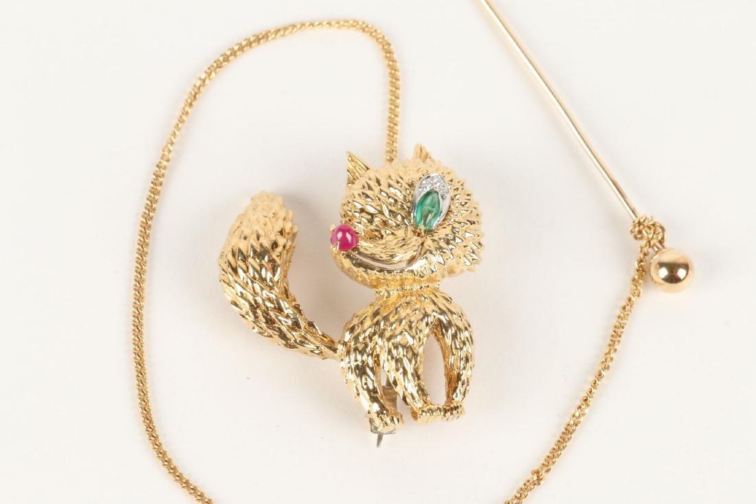"Cartier, 18K, Ruby, Diamond & Emerald ""Fox"" Brooch - 2"