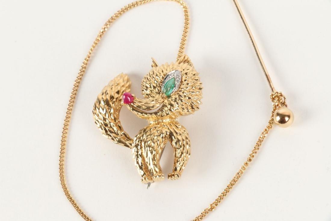 "Cartier, 18K, Ruby, Diamond & Emerald ""Fox"" Brooch - 3"