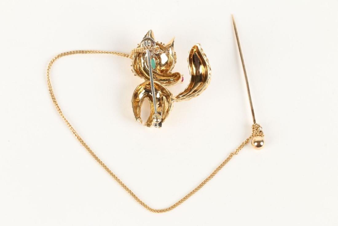 "Cartier, 18K, Ruby, Diamond & Emerald ""Fox"" Brooch - 4"