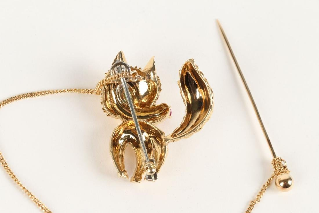 "Cartier, 18K, Ruby, Diamond & Emerald ""Fox"" Brooch - 5"