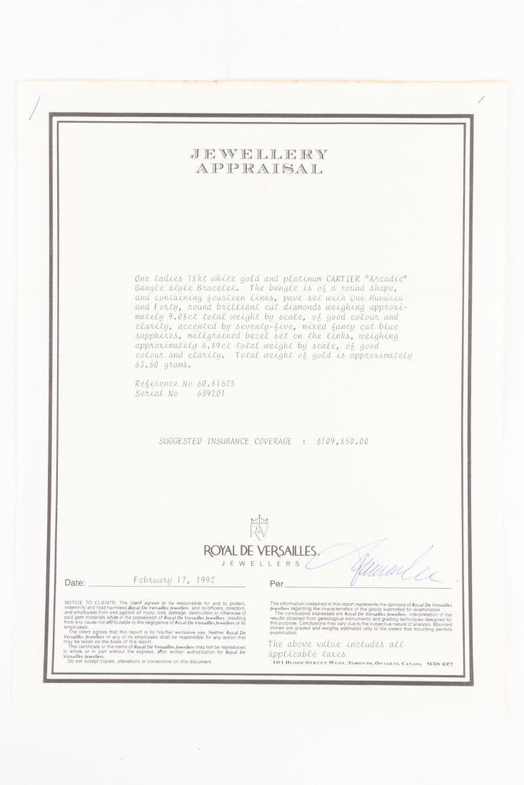 """Cartier, 18K, Diamond & Sapphire """"Arcadie"""" Bracelet - 9"""