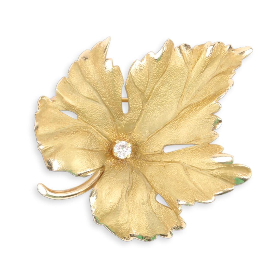 Tiffany, 14K Gold & Diamond Maple Leaf Brooch