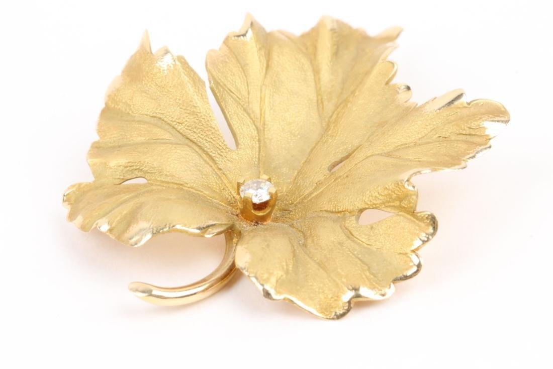 Tiffany, 14K Gold & Diamond Maple Leaf Brooch - 2