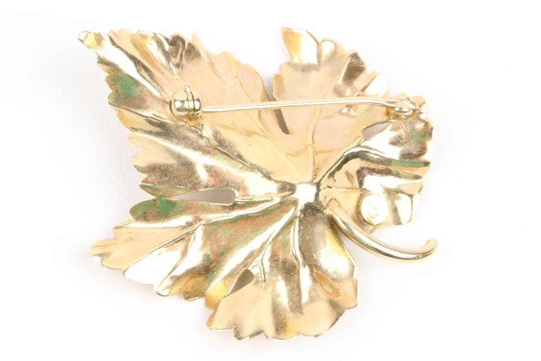 Tiffany, 14K Gold & Diamond Maple Leaf Brooch - 3