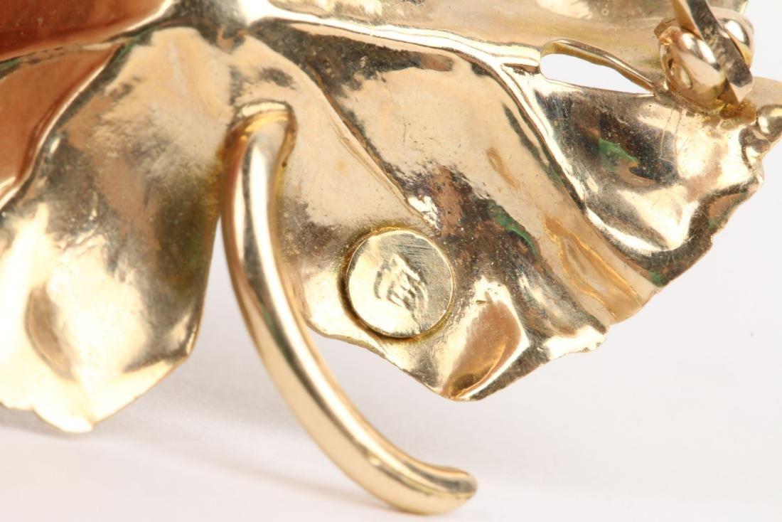 Tiffany, 14K Gold & Diamond Maple Leaf Brooch - 4