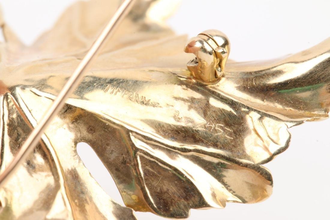Tiffany, 14K Gold & Diamond Maple Leaf Brooch - 5