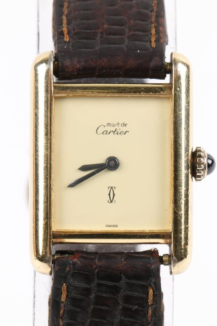 """Cartier, Vermeil """"Tank"""" Wristwatch - 3"""