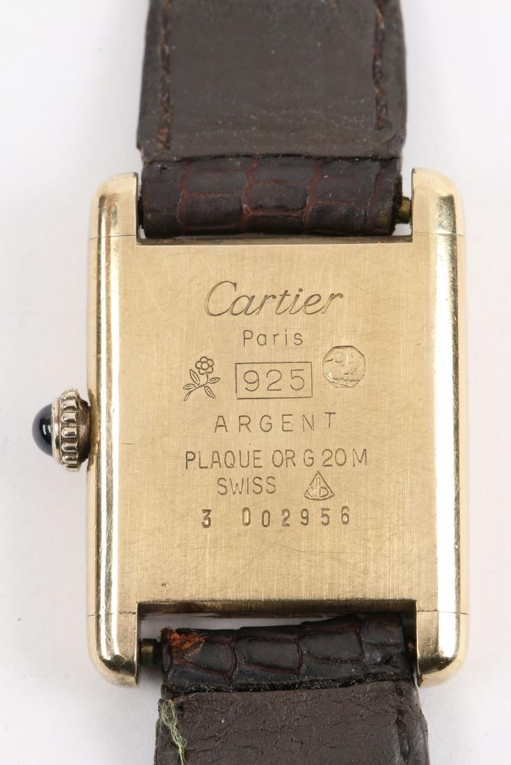 """Cartier, Vermeil """"Tank"""" Wristwatch - 6"""