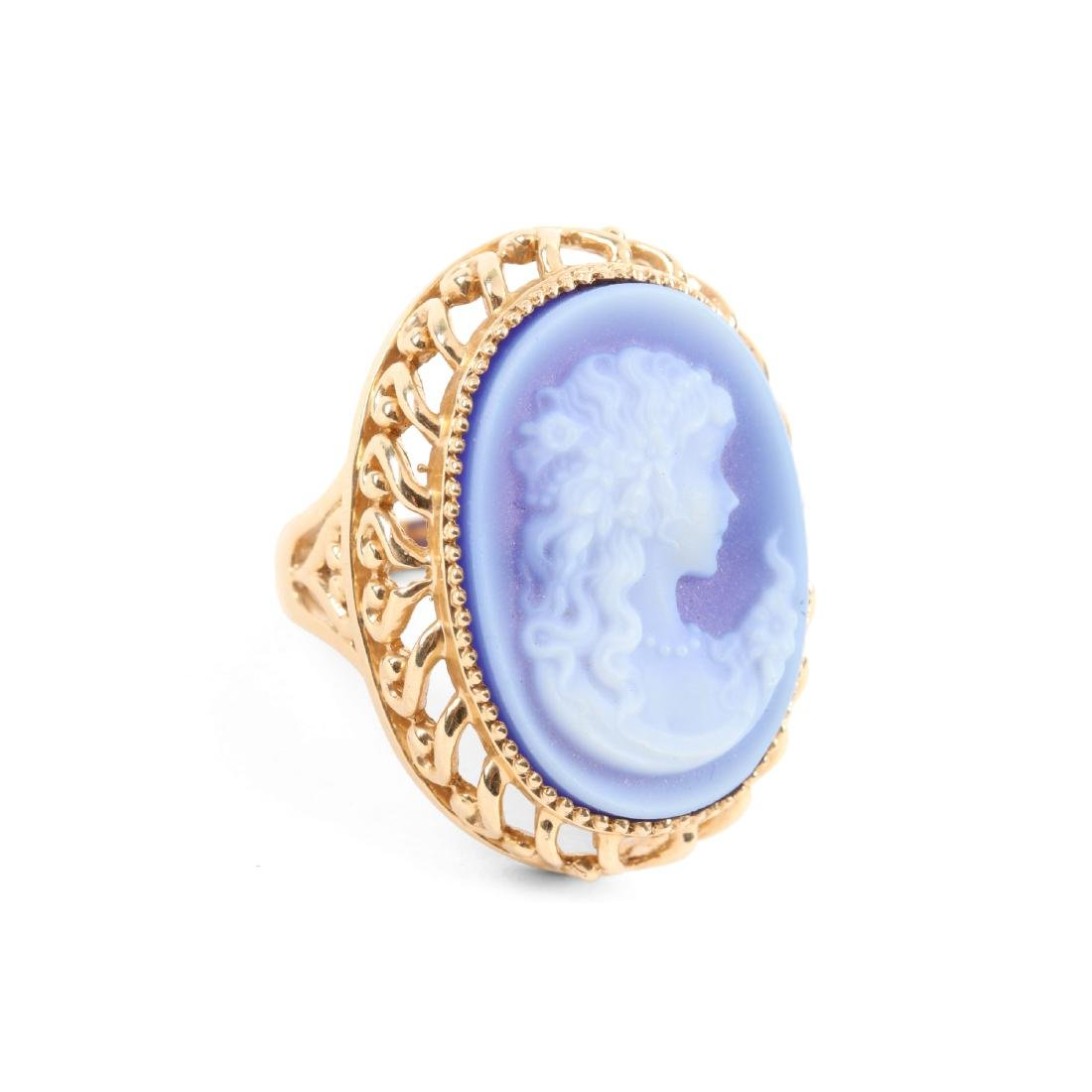A 14K Gold & Onyx Cameo Ring