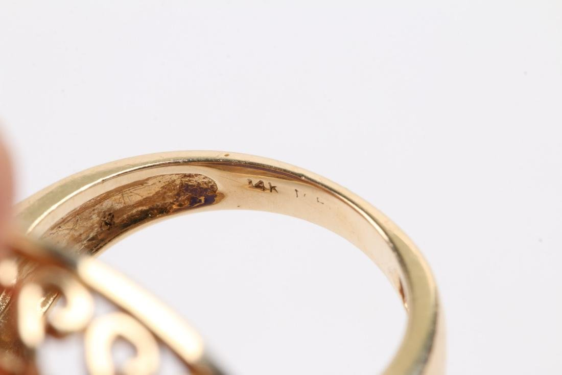 A 14K Gold & Onyx Cameo Ring - 6