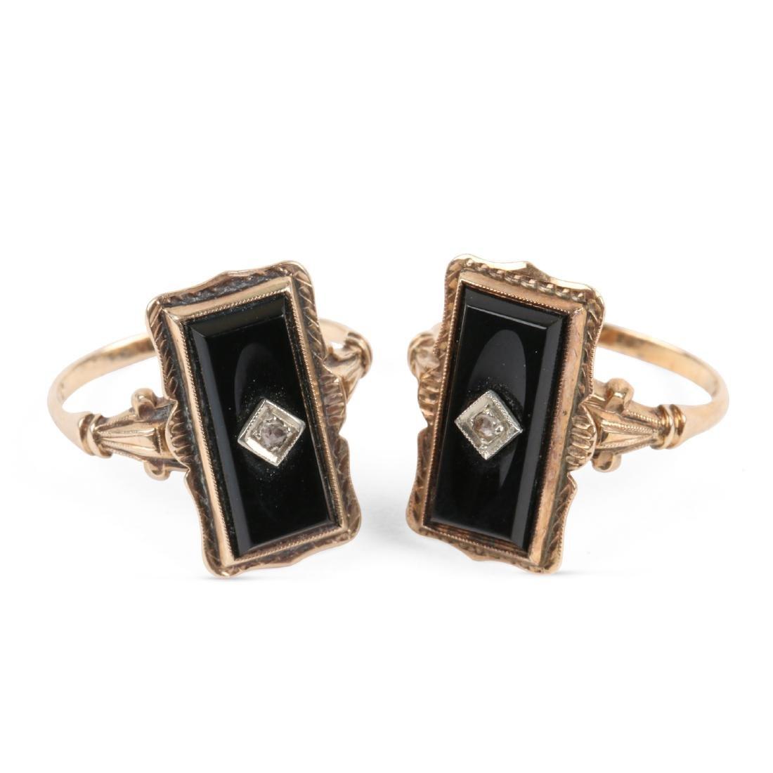 A Pair, 10K Gold & Onyx Rings