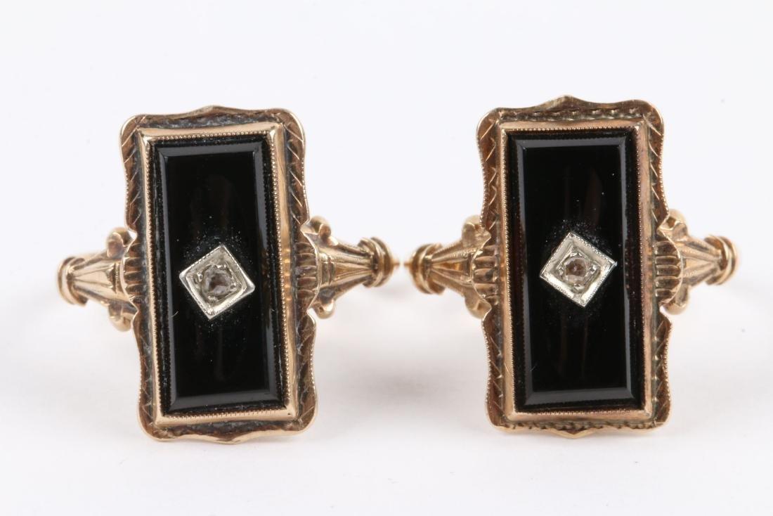 A Pair, 10K Gold & Onyx Rings - 2