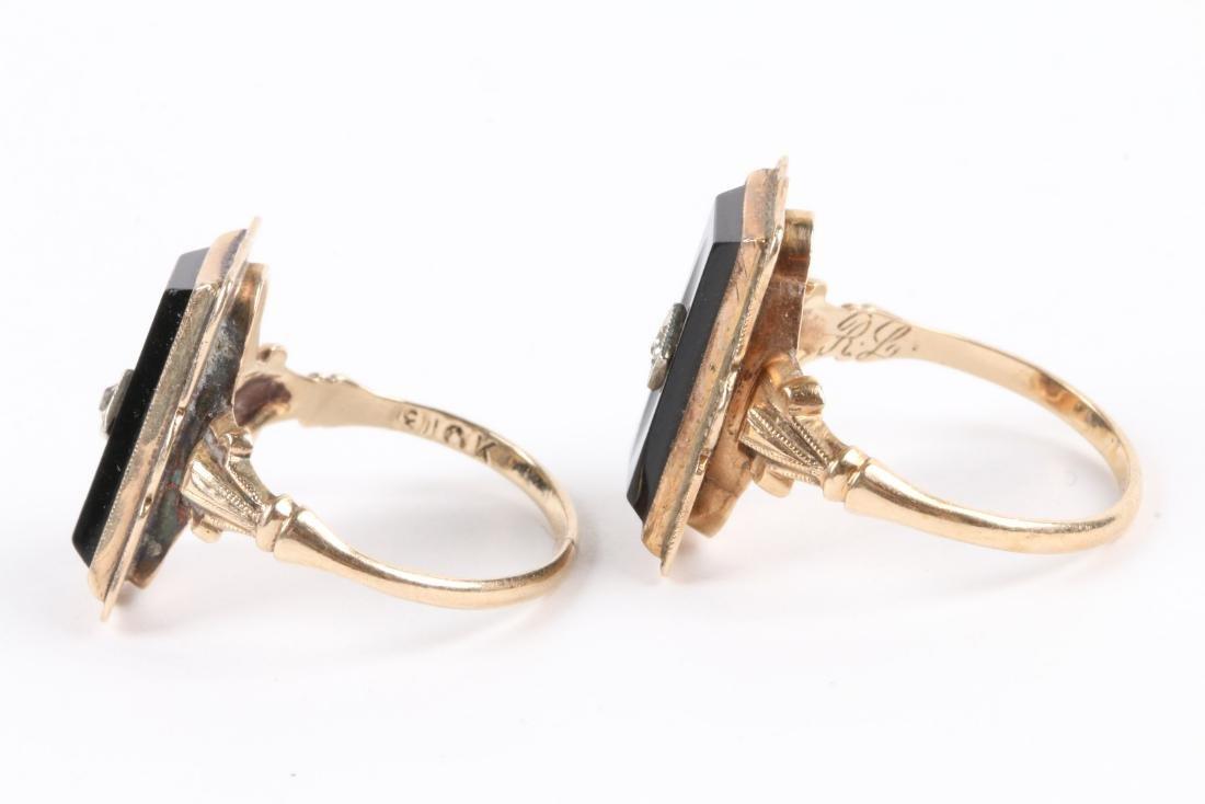A Pair, 10K Gold & Onyx Rings - 3