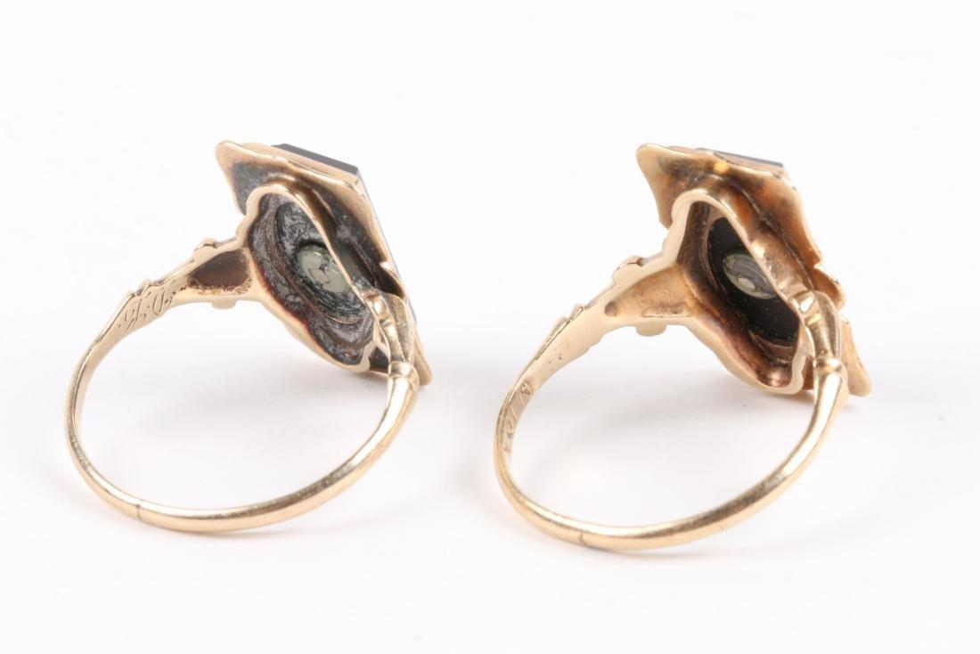 A Pair, 10K Gold & Onyx Rings - 4