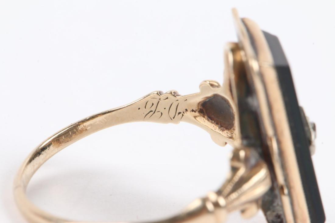 A Pair, 10K Gold & Onyx Rings - 6