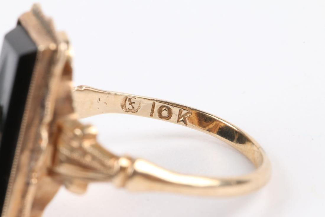 A Pair, 10K Gold & Onyx Rings - 7