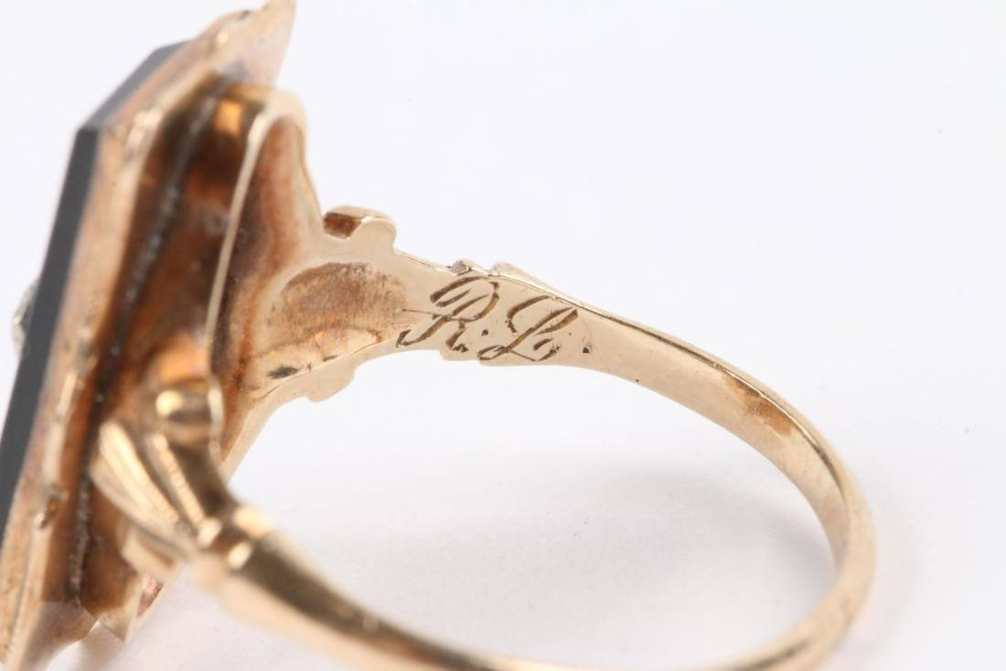 A Pair, 10K Gold & Onyx Rings - 8