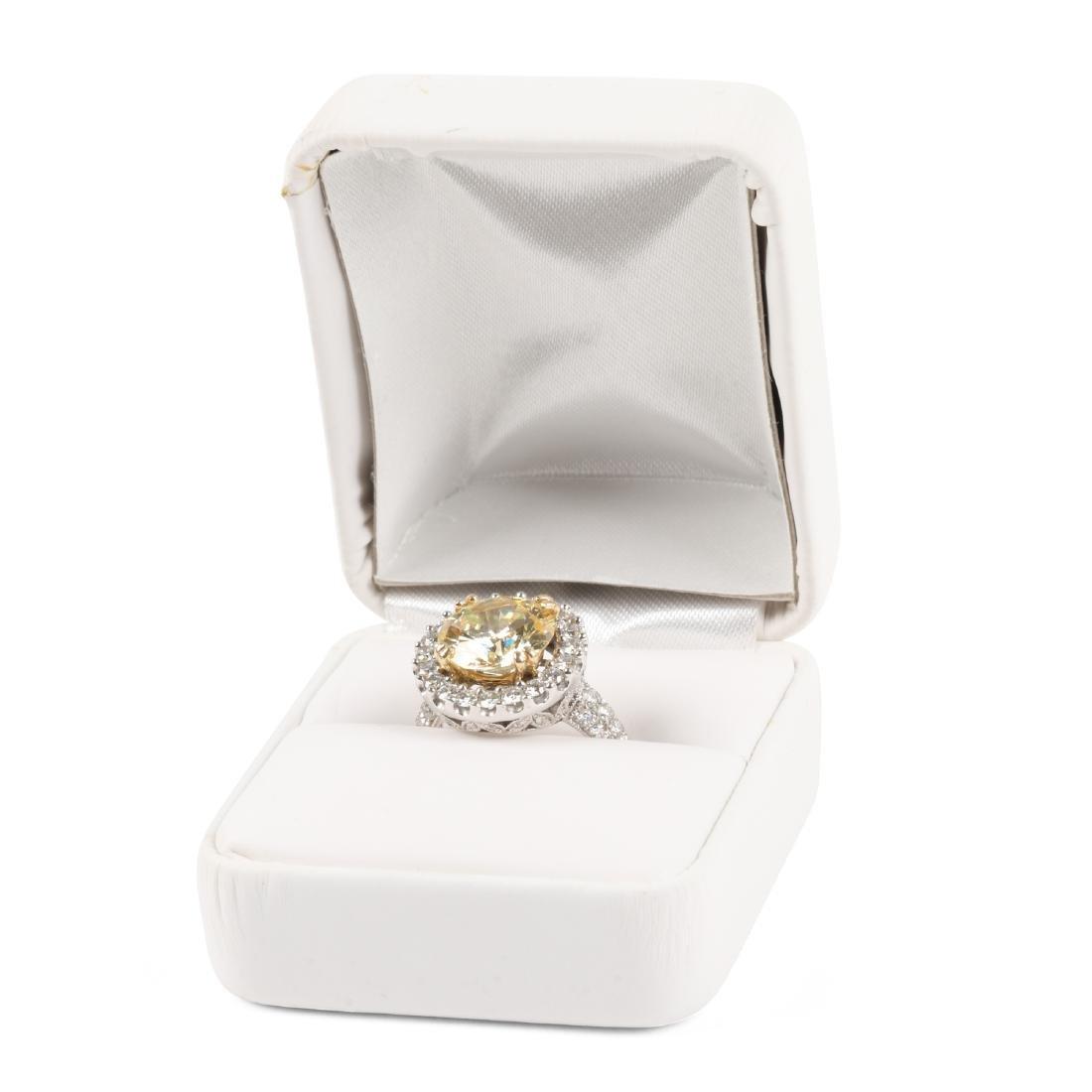 An 18K Gold, Diamond & Cubic Zirconia Ring