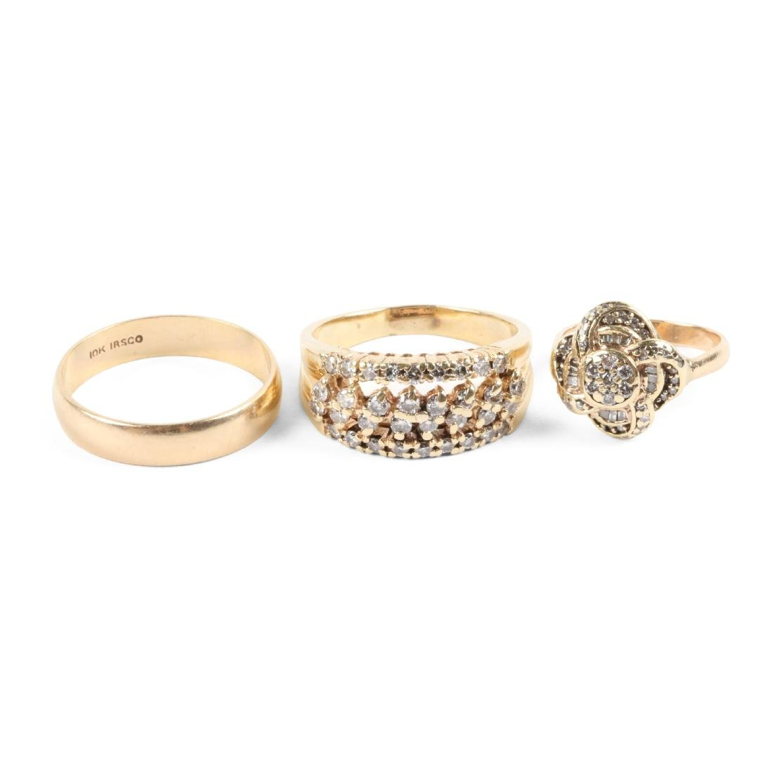 A Trio, 10K Gold & Diamond Rings