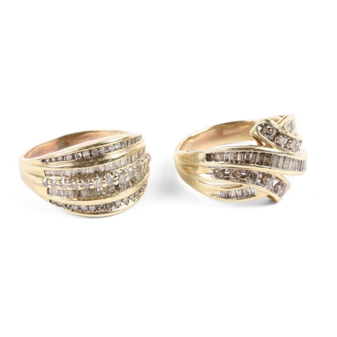 A Pair, 10K Gold & Diamond Rings