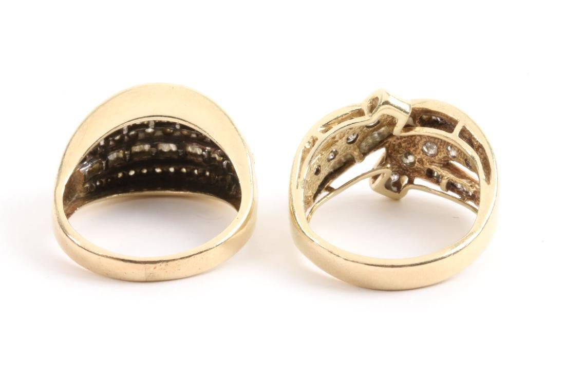 A Pair, 10K Gold & Diamond Rings - 6