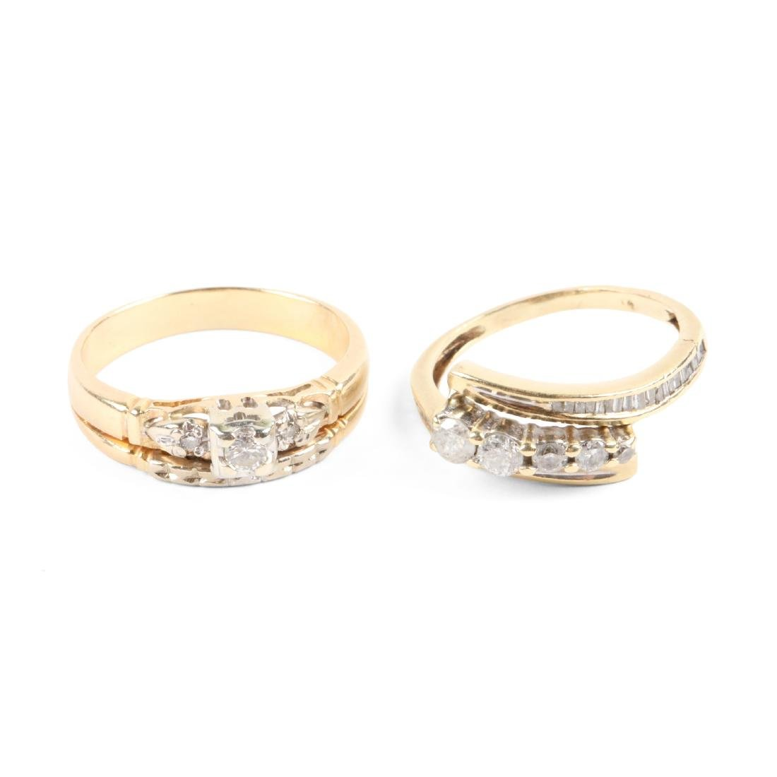 A Pair, 14K Gold & Diamond Rings