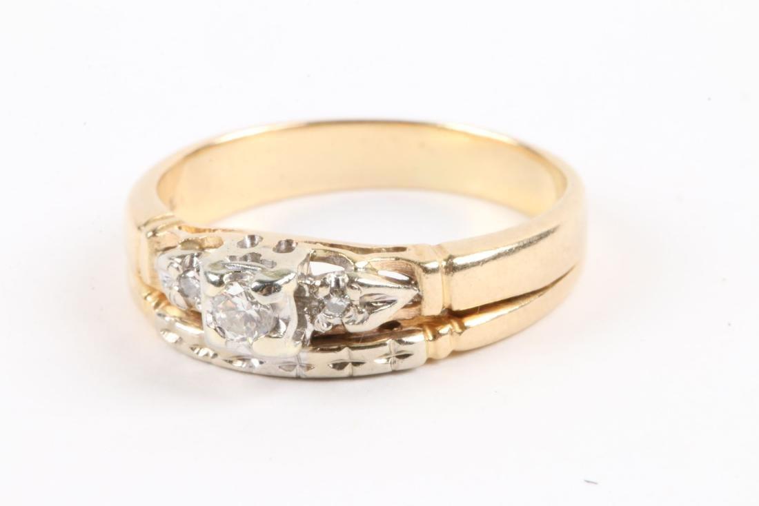 A Pair, 14K Gold & Diamond Rings - 7