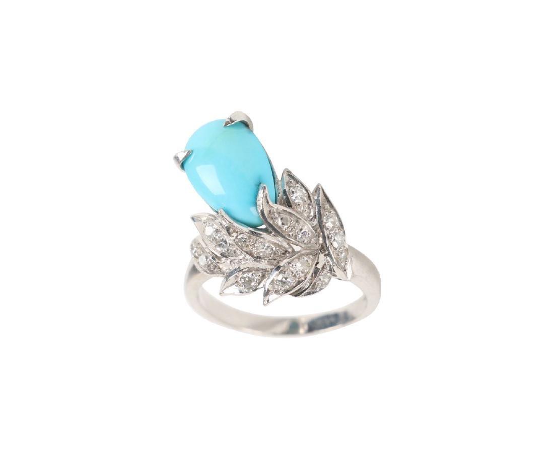 A 14K, Diamond & Turquoise Ring