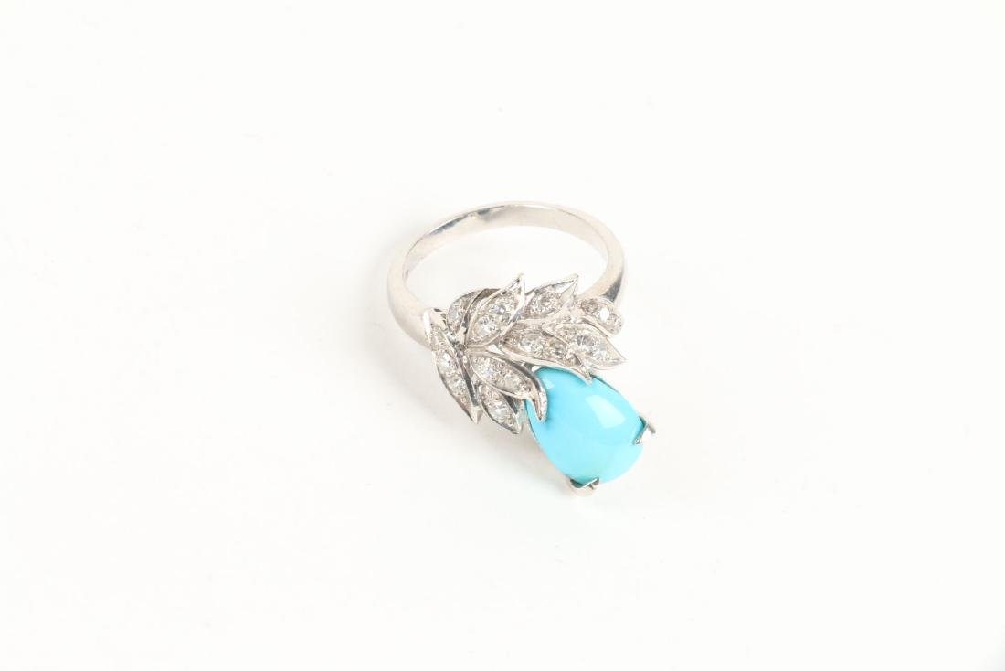 A 14K, Diamond & Turquoise Ring - 2