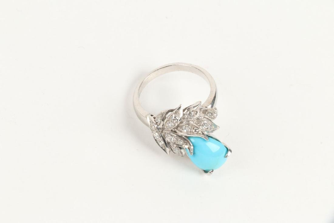 A 14K, Diamond & Turquoise Ring - 3