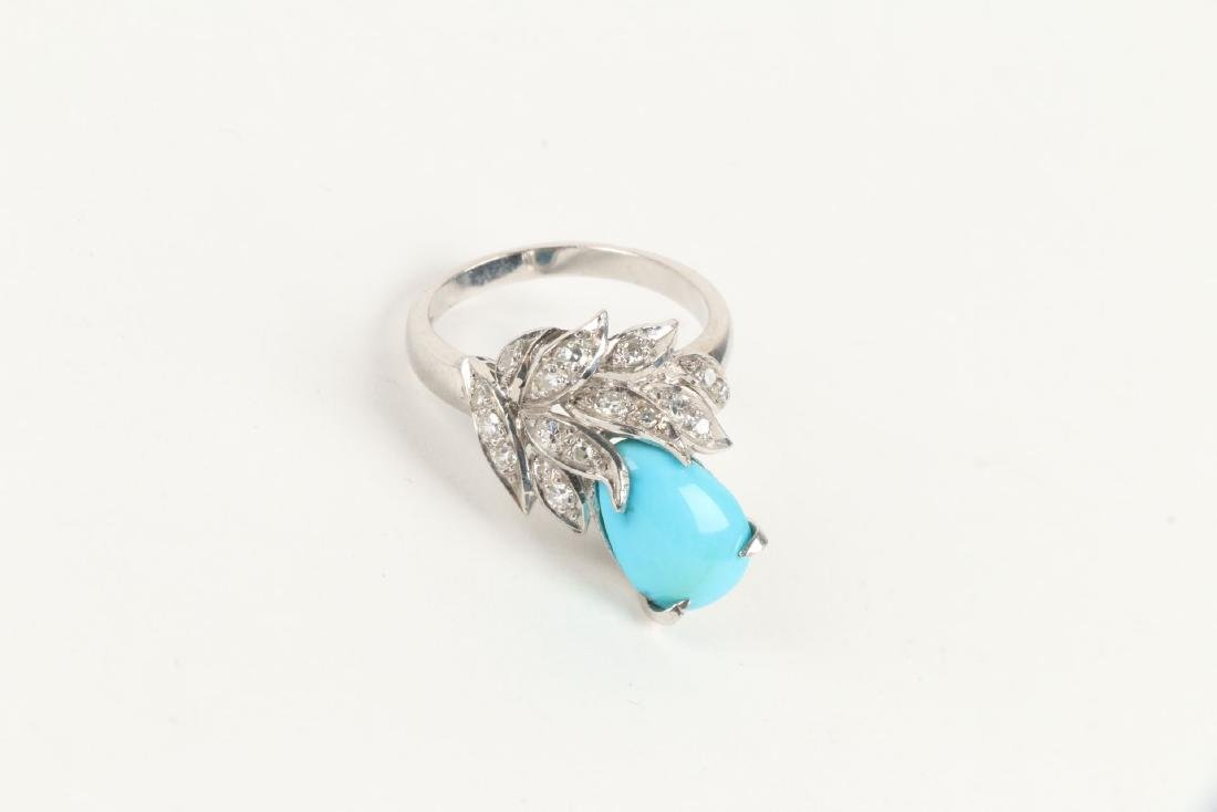 A 14K, Diamond & Turquoise Ring - 4
